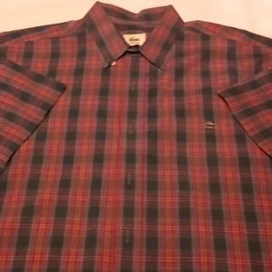 LACOSTE PATTEREN GREEN RED GOLD S/S BUTTON DOWN